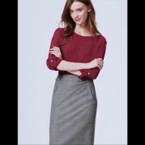 Loft Cranberry boatneck blouse